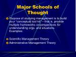major schools of thought