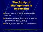 the study of management is important