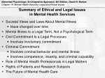 summary of ethical and legal issues in mental health services
