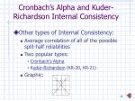 cronbach s alpha and kuder richardson internal consistency