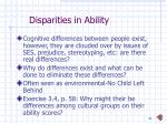 disparities in ability