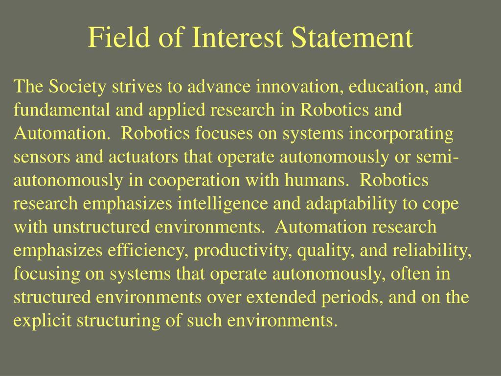 Field of Interest Statement