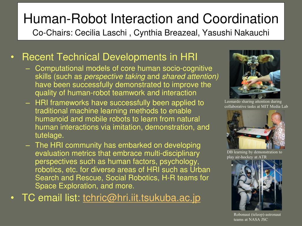 Human-Robot Interaction and Coordination