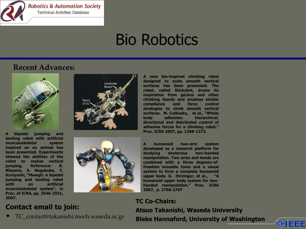 A new bio-inspired climbing robot designed to scale smooth vertical surfaces has been presented. The robot, called Stickybot, draws its inspiration from geckos and other climbing lizards and employs similar compliance and force control strategies to climb smooth vertical surfaces.  M. Cutkosky,