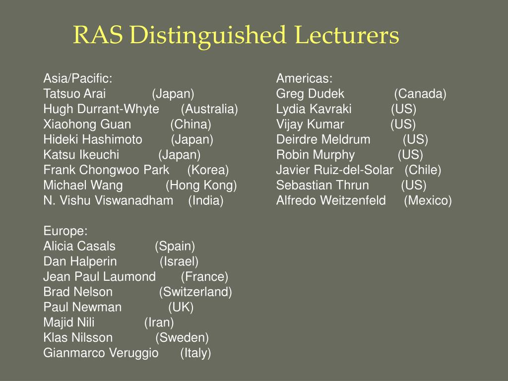 RAS Distinguished Lecturers