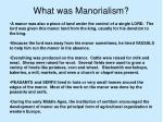 what was manorialism