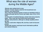 what was the role of women during the middle ages