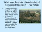 what were the major characteristics of the abbasid caiphate 750 1258