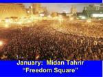 january midan tahrir freedom square