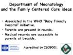 department of neonatology and the family centered care ideas