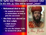 12 who was muhammad s successor what is his title how did he spread islam