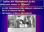 7 when did muhammad his followers return to mecca