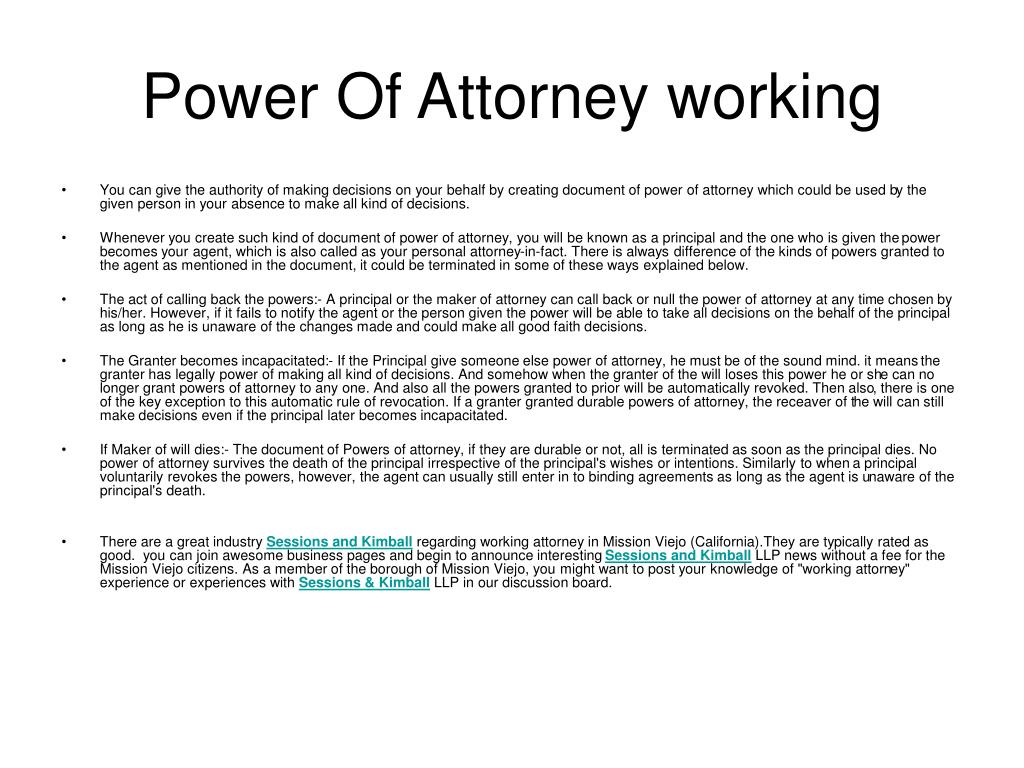 power of attorney working l.