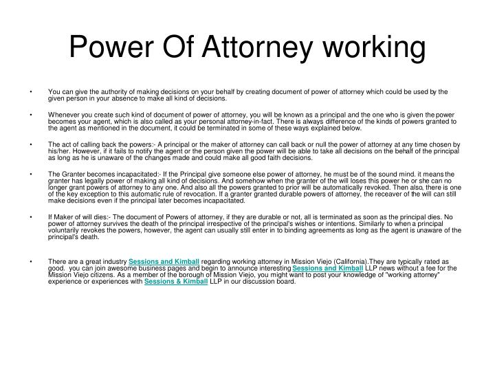 power of attorney working n.