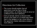 directions for collection