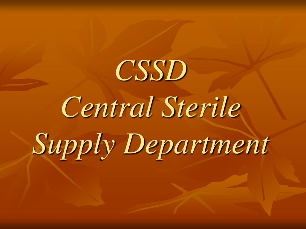 cssd central sterile supply department l.