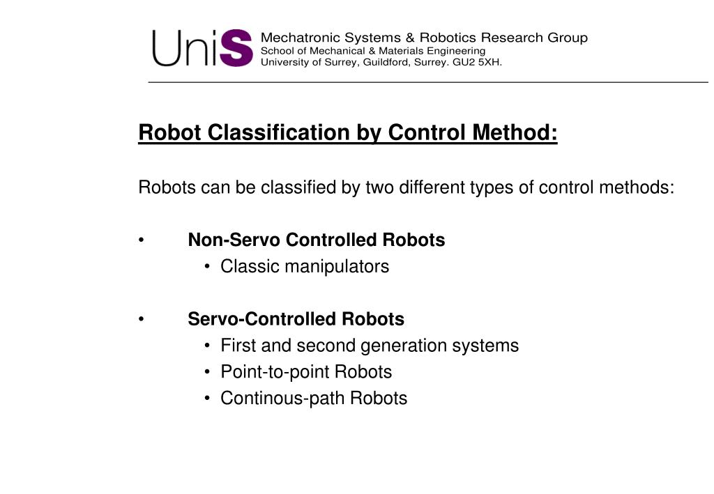 Robot Classification by Control Method: