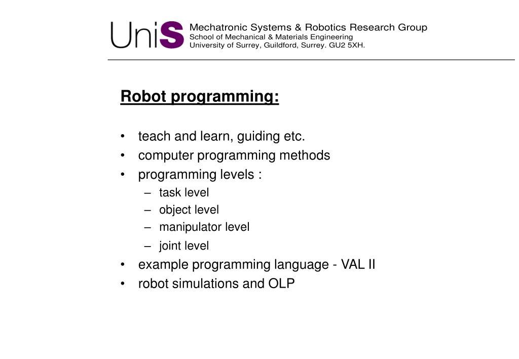 Robot programming:
