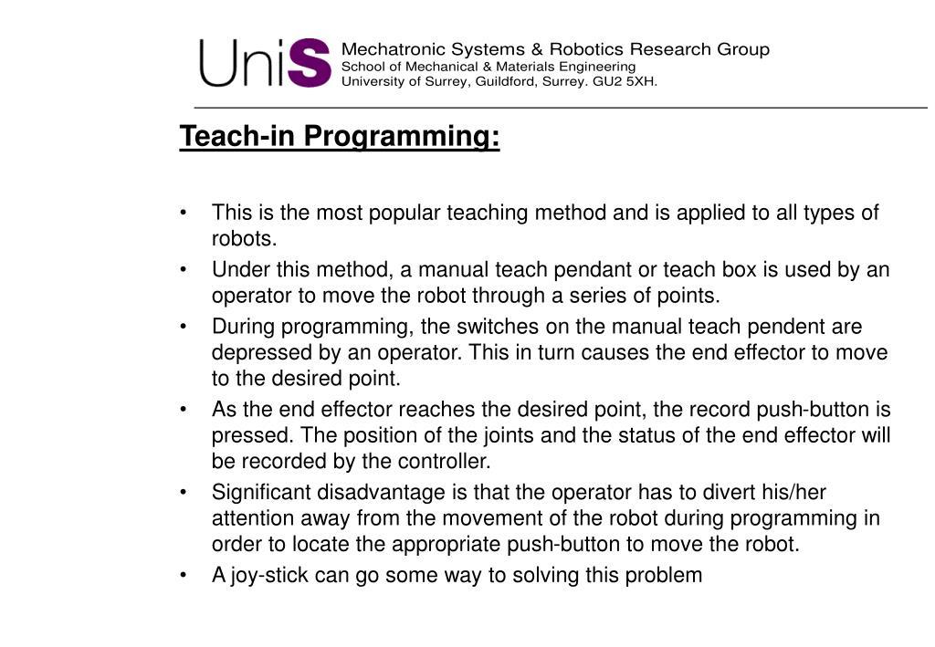 Teach-in Programming