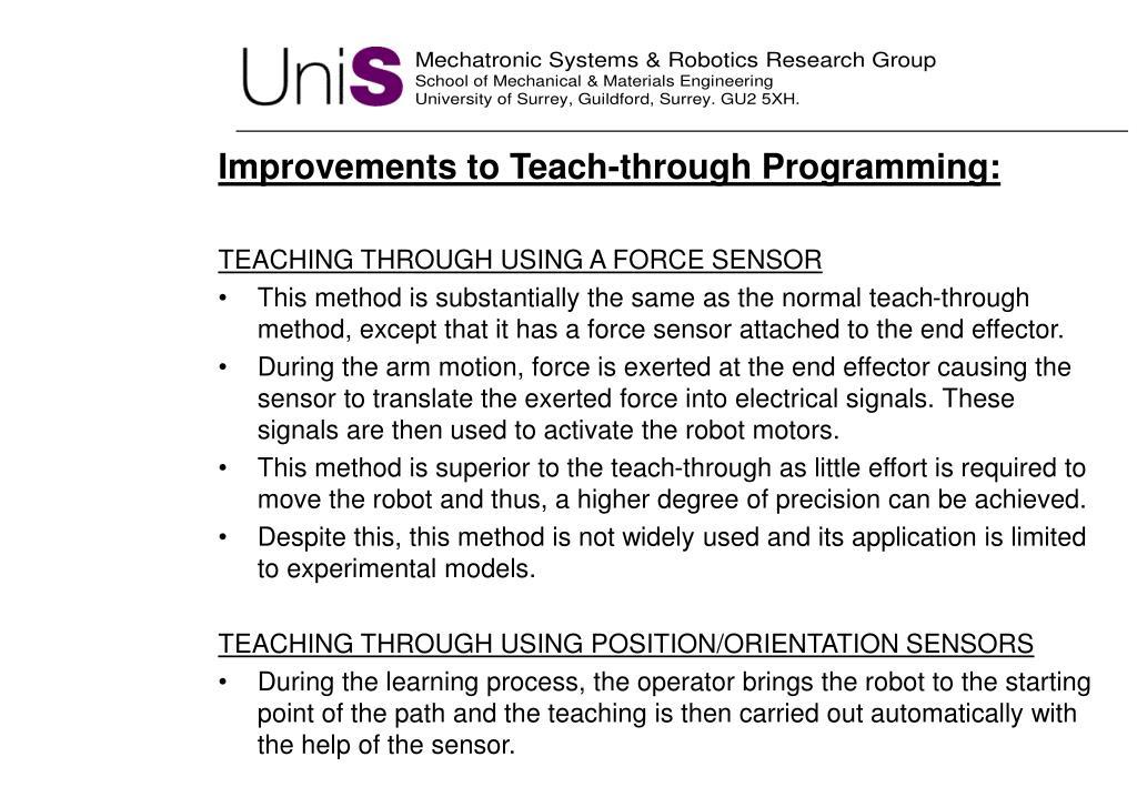 Improvements to Teach-through Programming