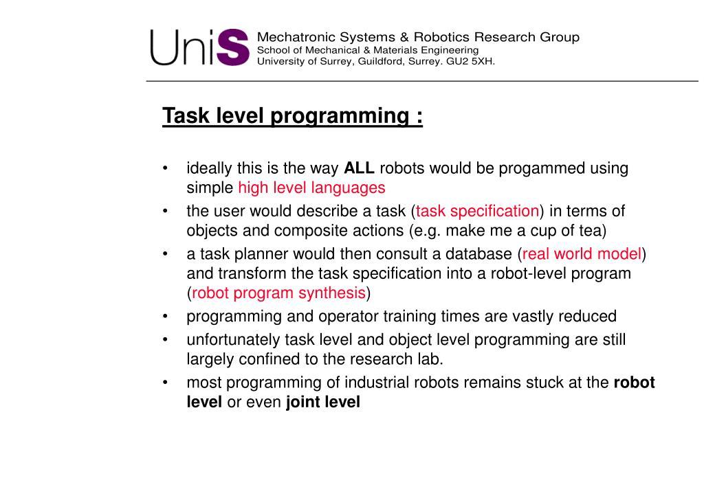 Task level programming :