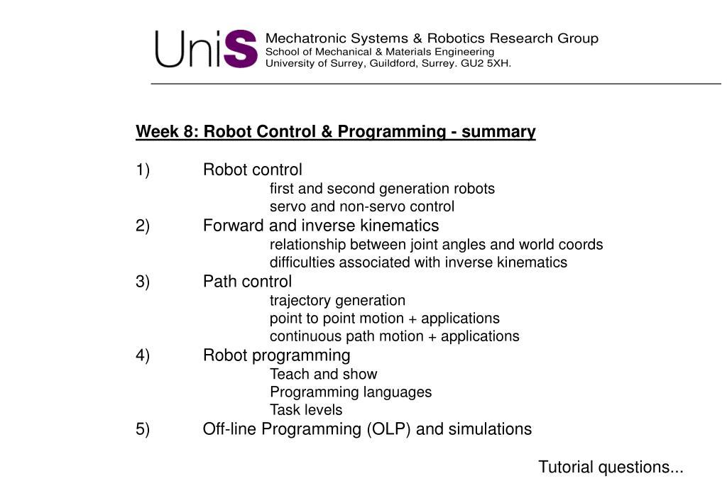 Week 8: Robot Control & Programming - summary