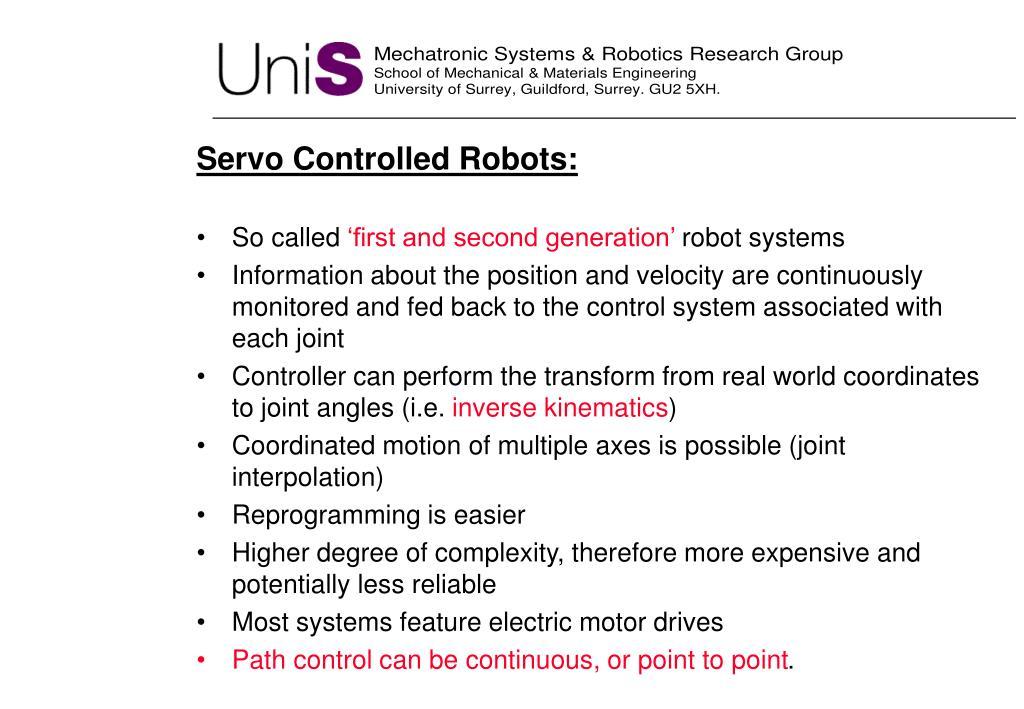 Servo Controlled Robots