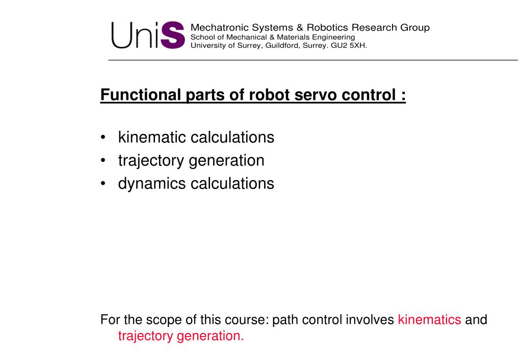 Functional parts of robot servo control