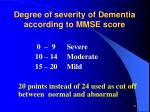 degree of severity of dementia according to mmse score