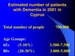 estimated number of patients with dementia in 2001 in cyprus