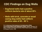 cdc findings on dug wells