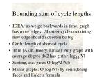 bounding sum of cycle lengths