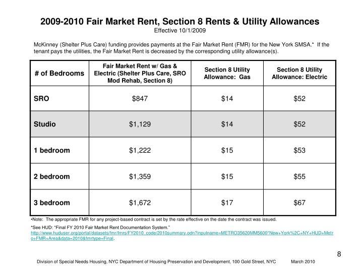 2009-2010 Fair Market Rent, Section 8 Rents & Utility Allowances