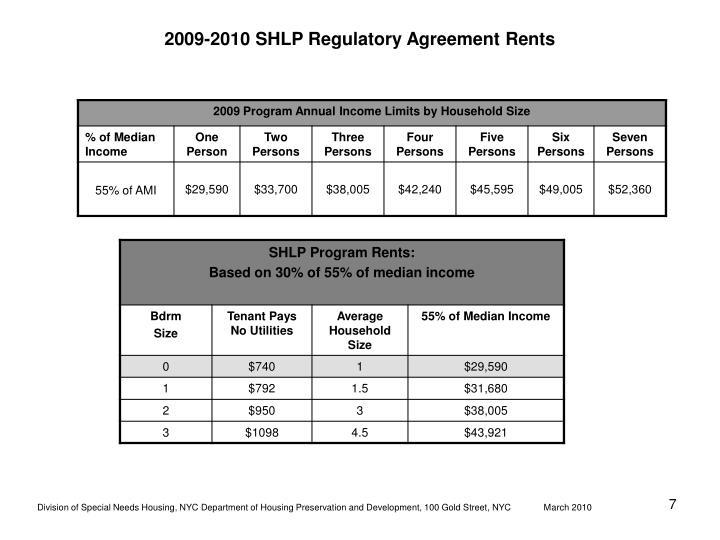 2009-2010 SHLP Regulatory Agreement Rents