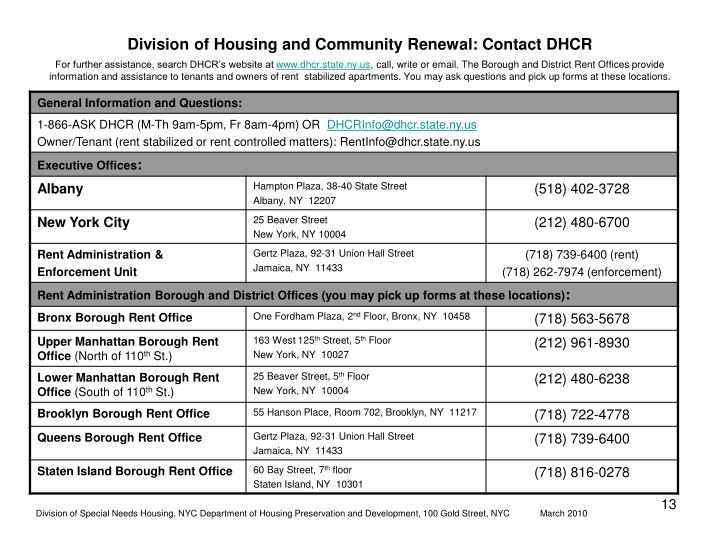 Division of Housing and Community Renewal: Contact DHCR