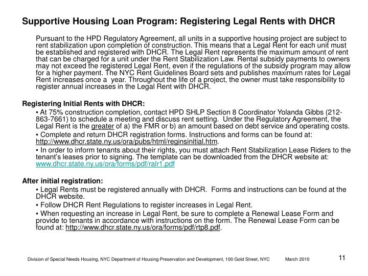 Supportive Housing Loan Program: Registering Legal Rents with DHCR