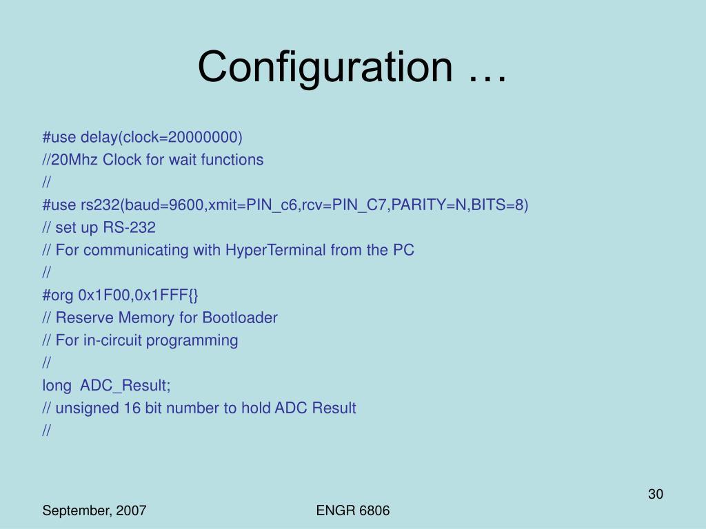 Configuration …