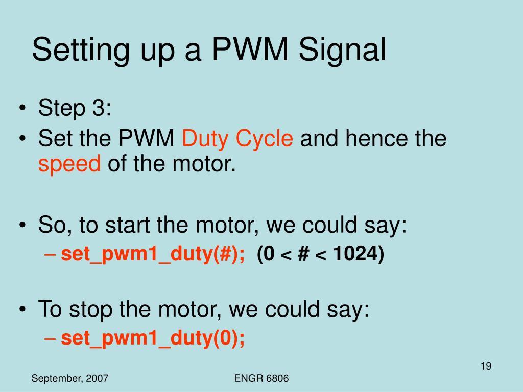 Setting up a PWM Signal