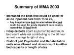 summary of mma 2003