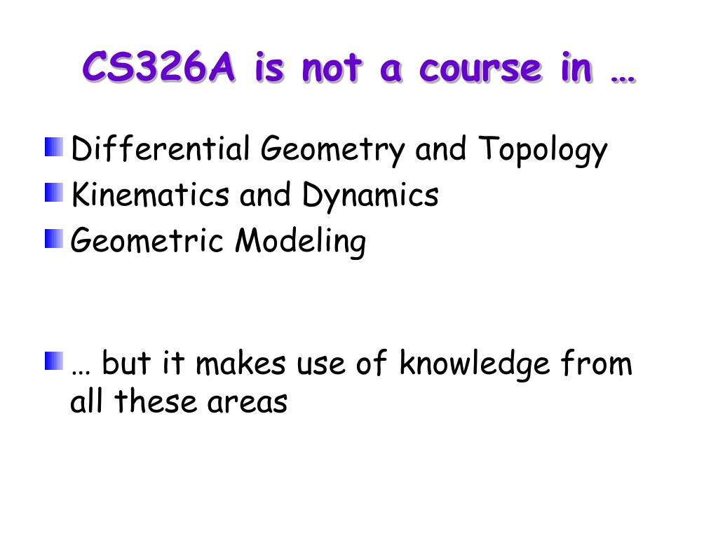 CS326A is not a course in …