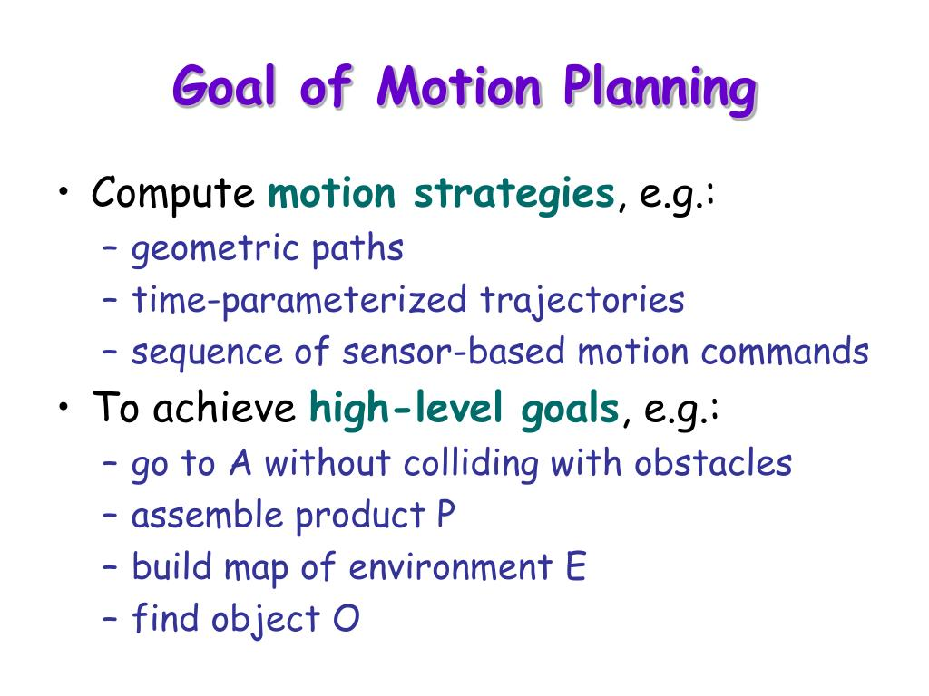 Goal of Motion Planning