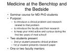 medicine at the benchtop and the bedside