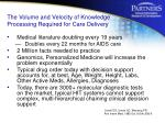 the volume and velocity of knowledge processing required for care delivery