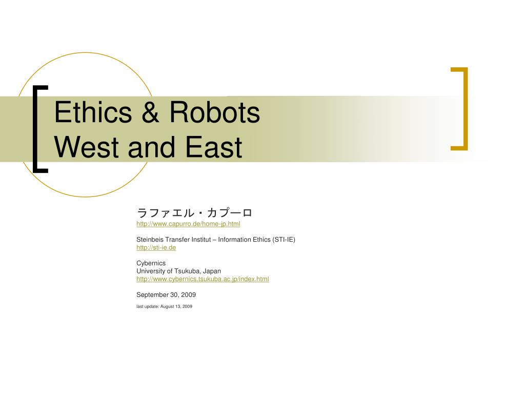 ethics robots west and east l.