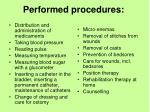 performed procedures