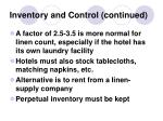 inventory and control continued