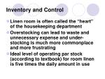 inventory and control
