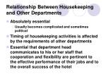 relationship between housekeeping and other departments