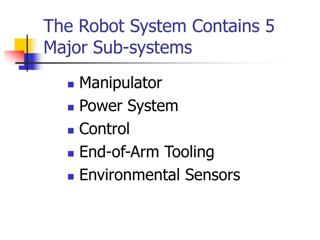 The Robot System Contains 5 Major Sub-systems