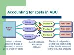 accounting for costs in abc
